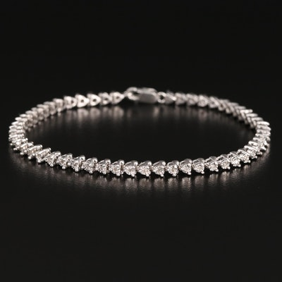Sterling Silver Diamond Illusion Set Line Bracelet