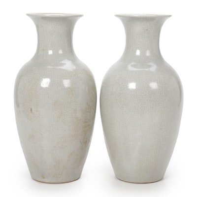 Pair of Light Celadon Grey Crackle Glaze Vases