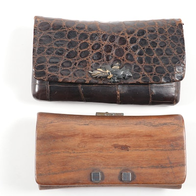 Japanese Alligator and Hardwood Tobacco Pouches