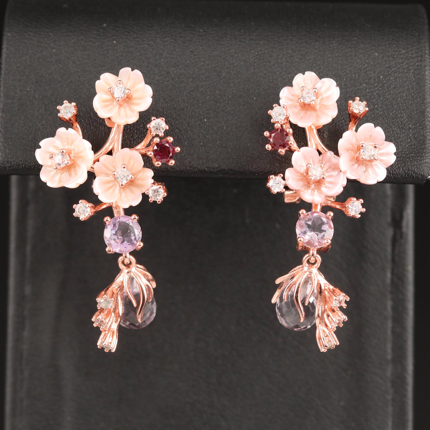 Sterling Silver Mother of Pearl and Gemstone Floral Earrings