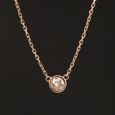 14K Rose Gold 0.20 CT Bezel Set Diamond Solitaire Necklace