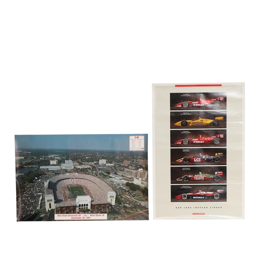 Ohio State Football and Honda Indycar Lineup Posters, 1990s