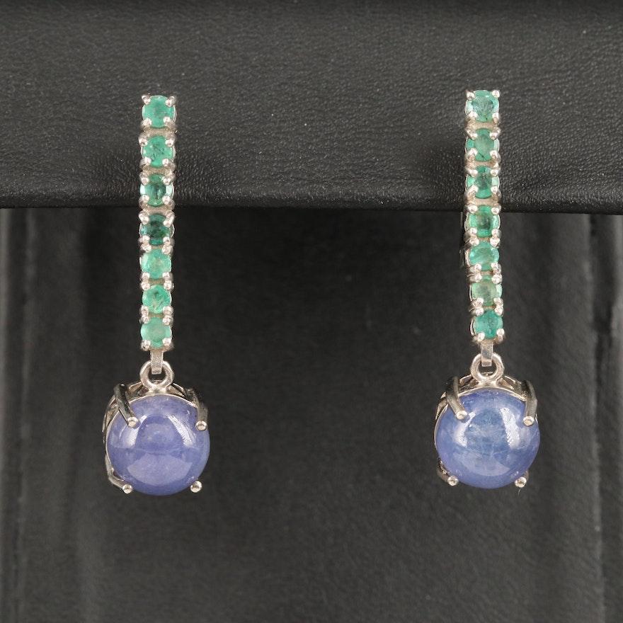Sterling Tanzanite and Emerald Dangle Earrings
