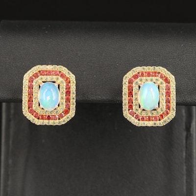 Sterling Opal and Sapphire Geometric Dangle Earrings