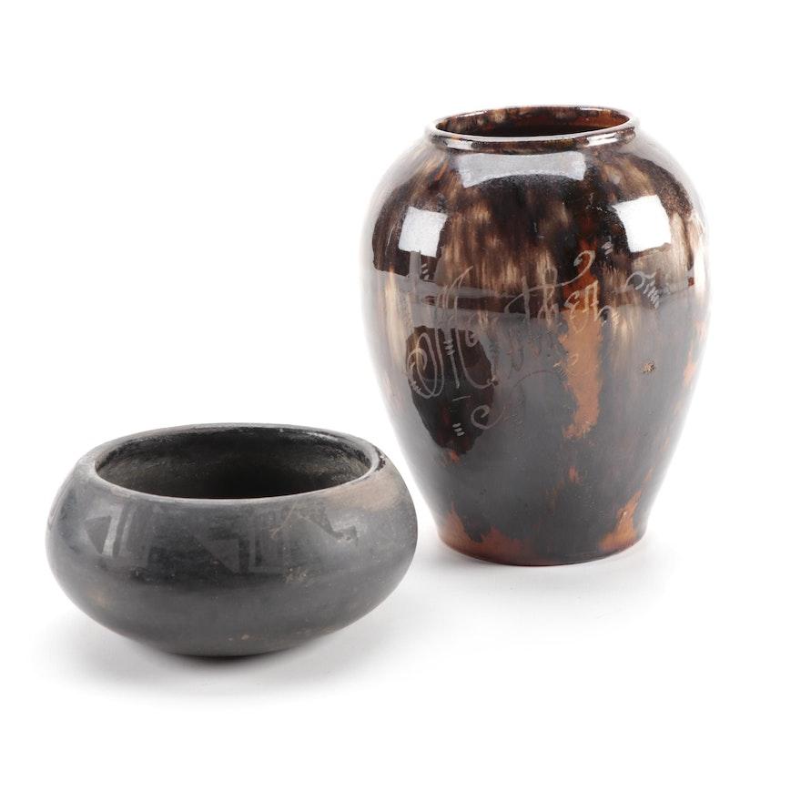 Burnished Blackware Pottery Bowl and Glazed Ceramic Vase