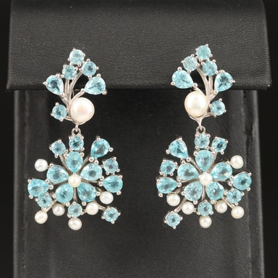 Sterling Silver Apatite and Pearl Floral Dangle Earrings `