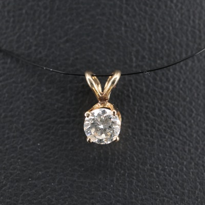14K 0.30 CT Diamond Solitaire Pendant