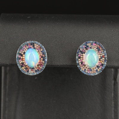 Sterling Silver Opal and Sapphire Oval Stud Earrings