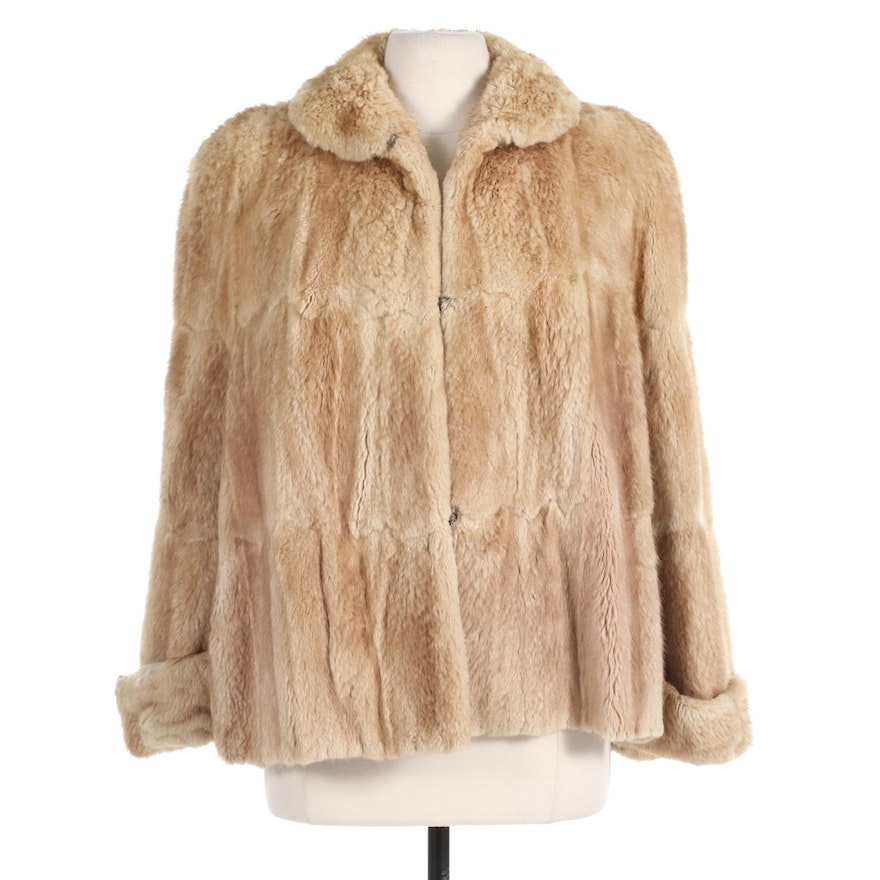 Bleached and Sheared Muskrat Fur Capelet with Turned Back Cuffs by Jackson's
