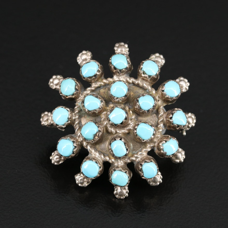 Sterling Silver Turquoise Converter Brooch