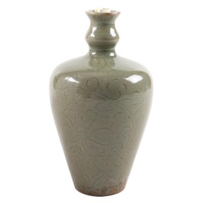 Chinese Yaozhou Style Greenware Ceramic Vase