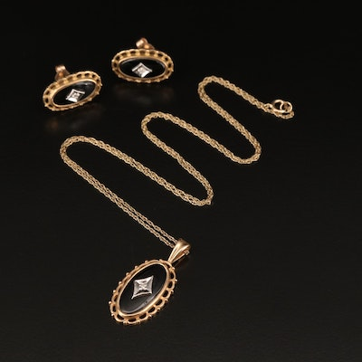 10K Black Onyx and Diamond Stud Earring and Necklace Set
