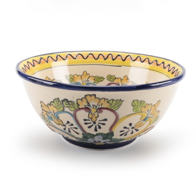 Alba Mexican Floral Enameled Ceramic Bowl