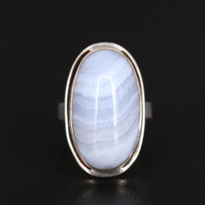 Sterling Lace Agate Solitaire Ring
