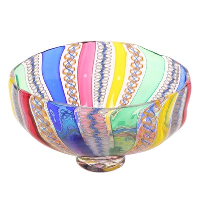 Venetian Ribbon Spiral Art Glass Bowl