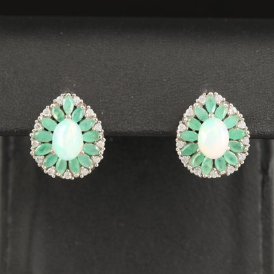 Sterling Opal, Emerald and Cubic Zirconia Dangle Earrings