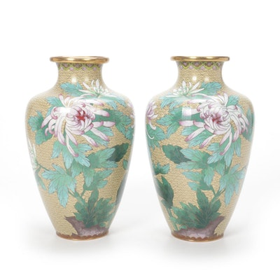 Pair of Jingfa Chinese Cloisonné Vases