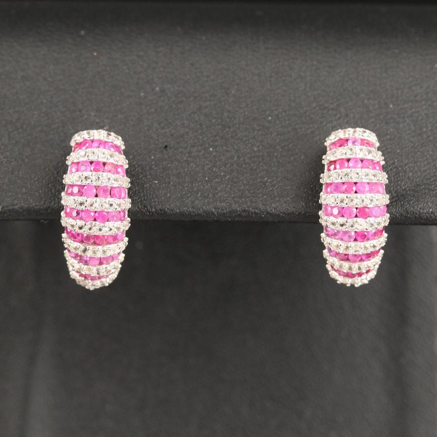 Sterling Ruby and White Sapphire Half Hoop Earrings