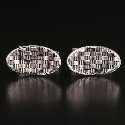 Sterling Silver Oval Concave Woven Cufflinks