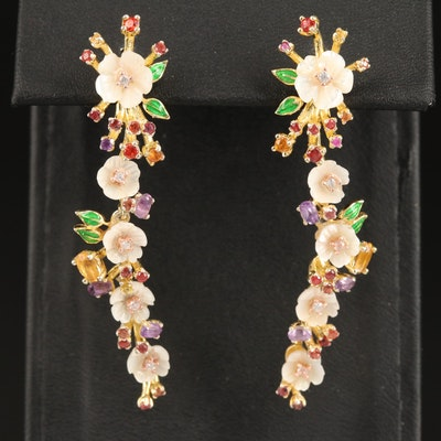 Sterling Flower Earrings with Sapphire, Amethyst, Citrine and Enamel