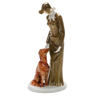 "Hollóháza ""Lady with Dog"" Hand-Painted Porcelain Figurine, Mid-20th Century"