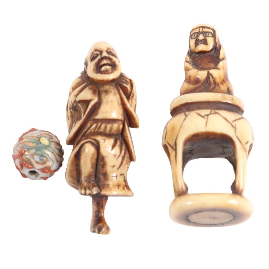Japanese Carved Antler Netsuke and Glass Bead