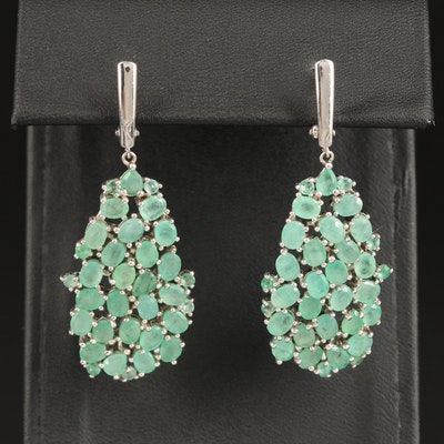 Sterling Emerald Cluster Dangle Earrings