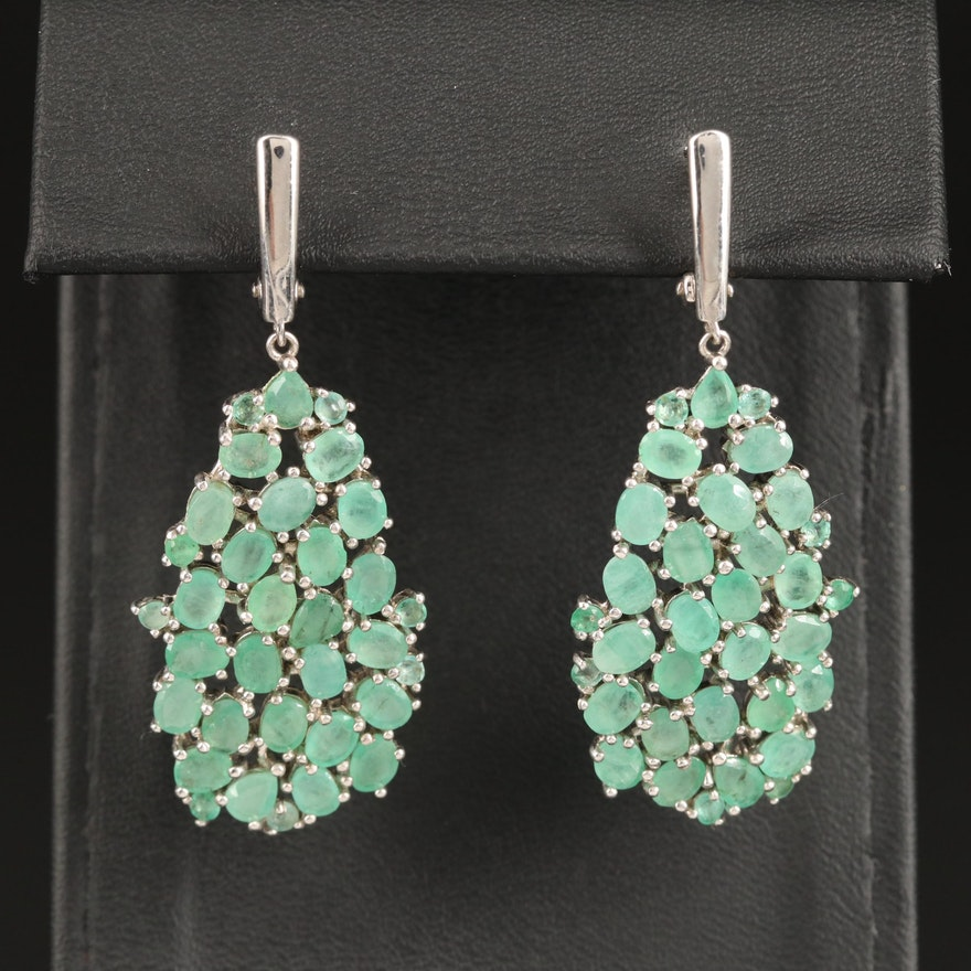 Sterling Emerald Cluster Dangle Earrings