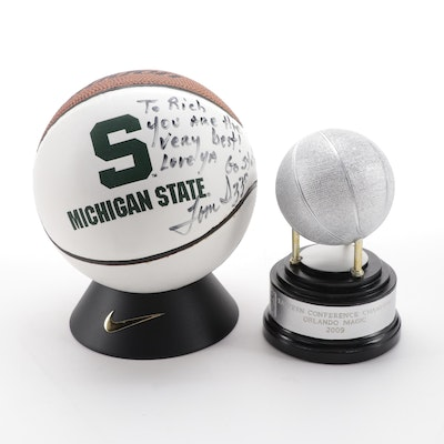 Signed Tom Izzo Michigan State Coach Mini Basketball, 2009 Orlando Magic Trophy