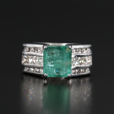 14K 4.15 CT Emerald and1.33 CTW Diamond Ring with GIA Report