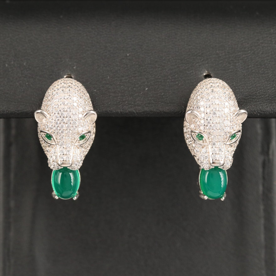 Sterling Chalcedony and Cubic Zirconia Cougar Knocker Earrings