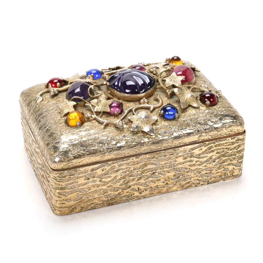 Keepsake Box with Cabochons and Metallic Vine Decoration