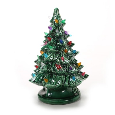 Illuminated Cast Ceramic Christmas Tree