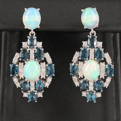 Sterling Drop Earrings with Opal, Topaz and Cubic Zirconia