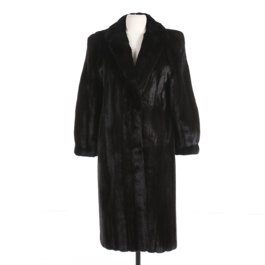 Dark Mink Fur Coat with Banded Cuffs and Embroidered Lining