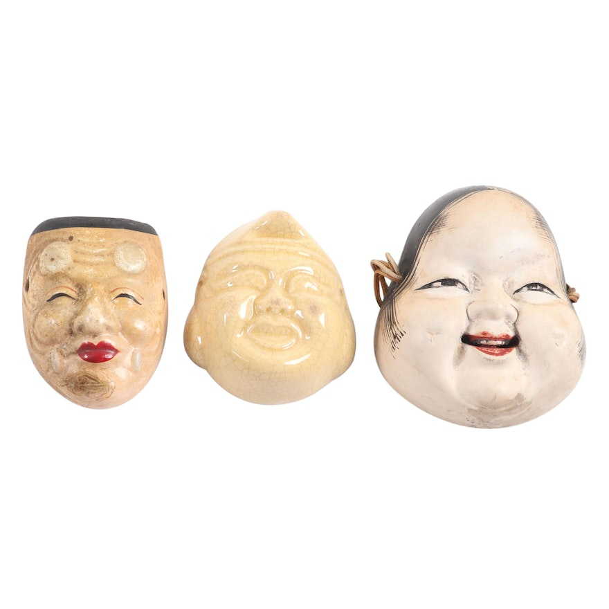 Japanese Miniature Noh Masks with Erotic Scene and Ebisu Sake Cup