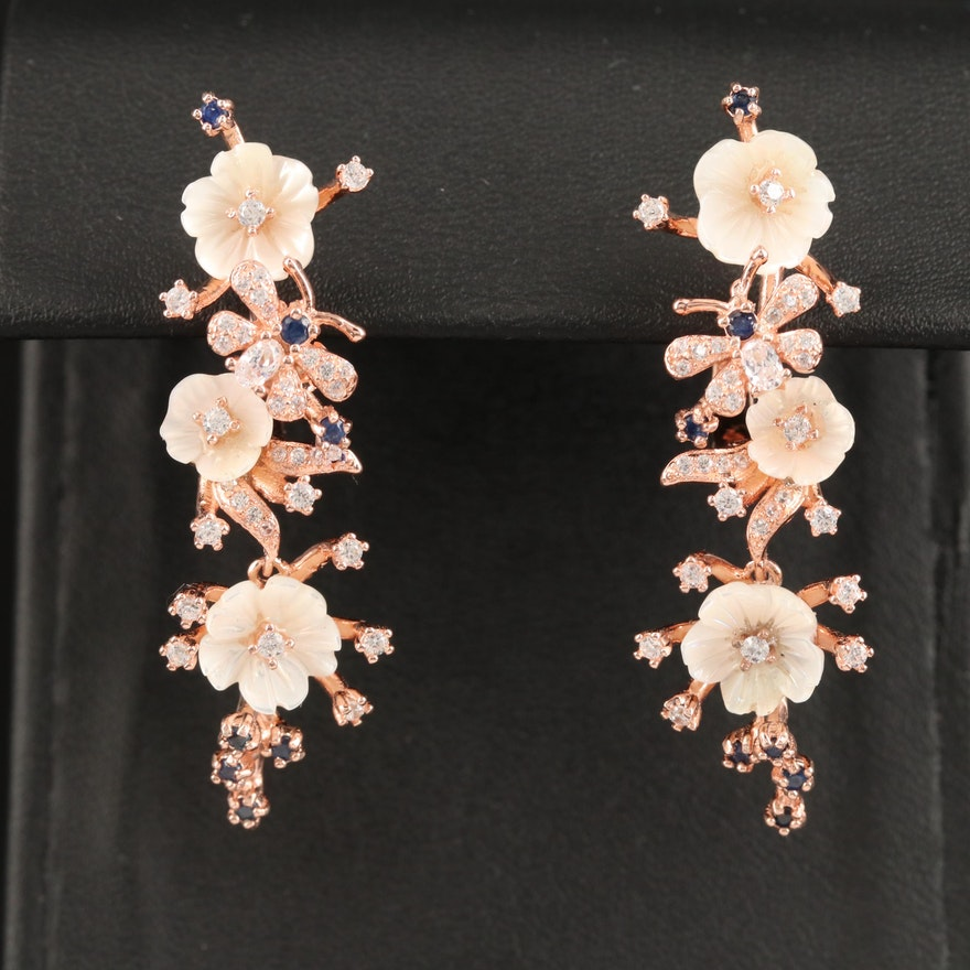 Sterling Sapphire, Cubic Zirconia and Resin Flower Dangle Earrings