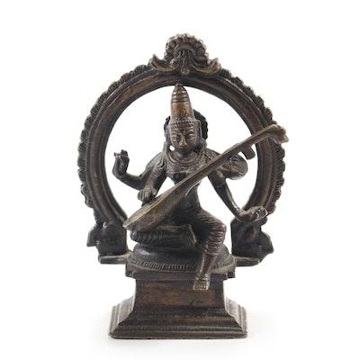 Indian Saraswati Brass Deity Figurine Under Arch Playing the Veena