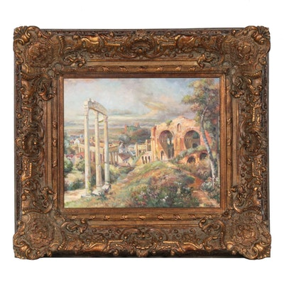 Landscape Oil Painting with Architectural Ruins, 21st Century