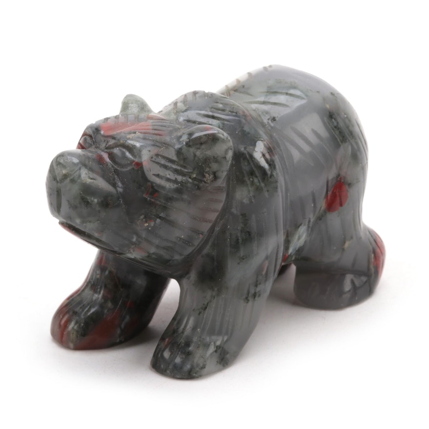 Carved Brecciated Jasper Grizzly Bear Figurine