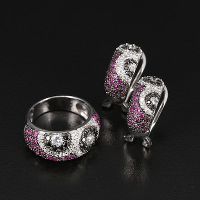 Sterling Silver Ruby and Cubic Zirconia Ring and Earring Set