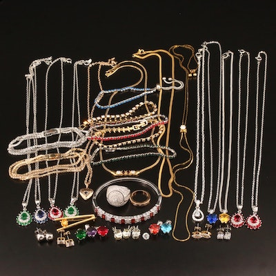 Assorted Jewelry and Jewelry Elements Including Rhinestones and Cubic Zirconia
