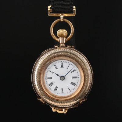 Antique Louis Jacot Gold Filled Pocket Watch with Wrist Strap