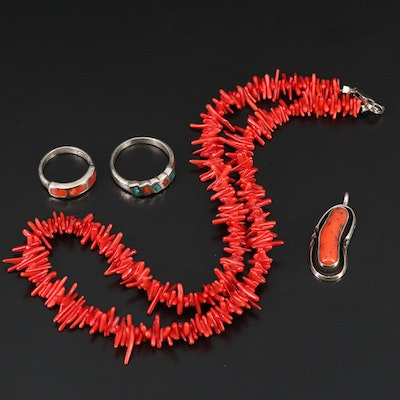 Western Style Coral and Chip Turquoise Jewelry