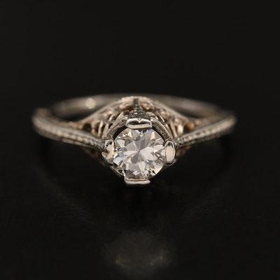 Antique Neoclassical Belais 18K 0.35 CT Diamond Solitaire Ring