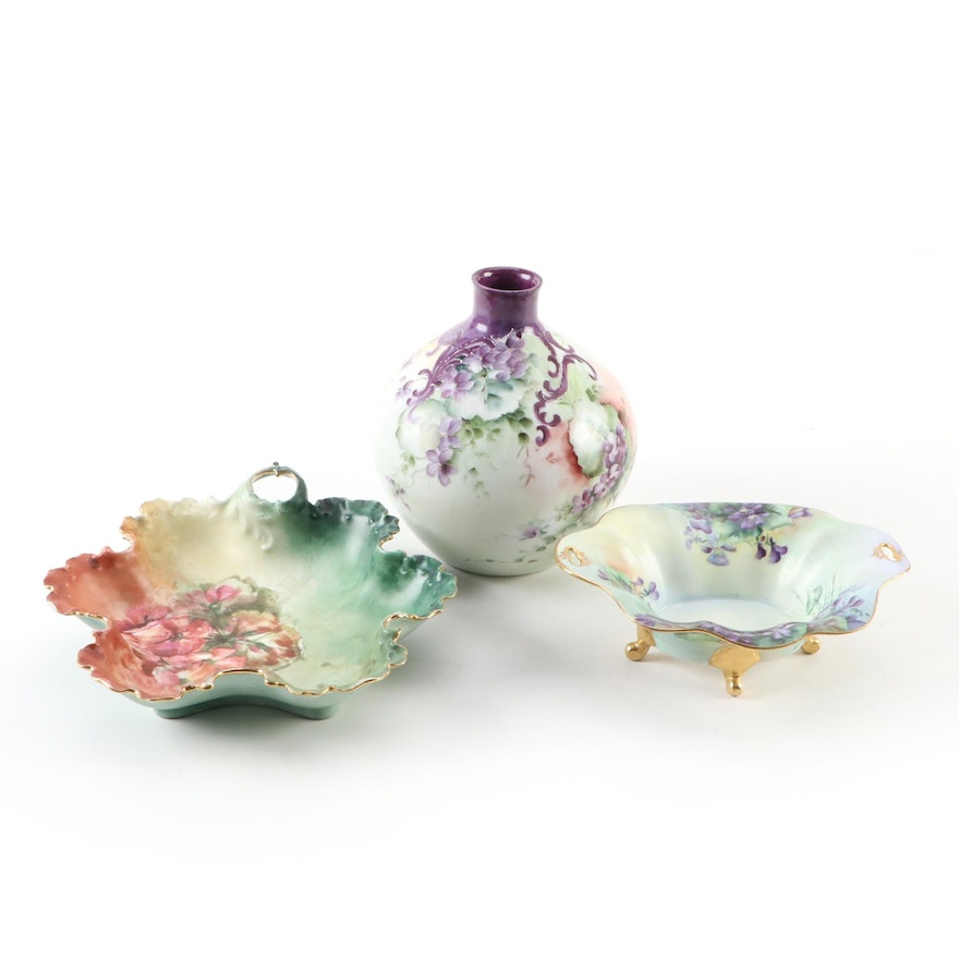 Rosenthal Vase and Other Hobbyist Hand-Painted Porcelain, Late 19th/20th C.