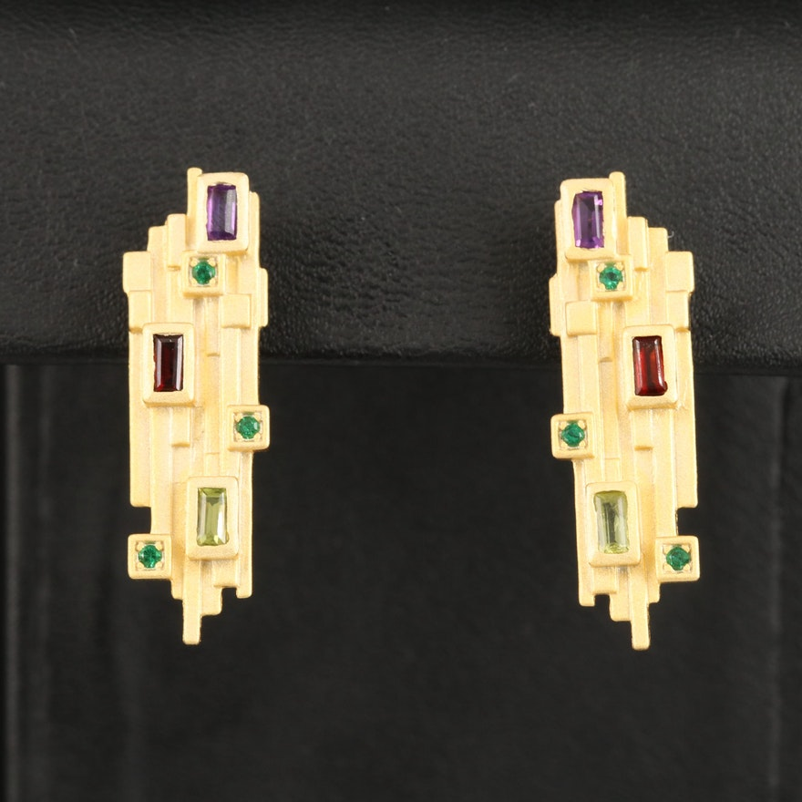 Sterling Amethyst, Garnet and Peridot Geometric Earrings