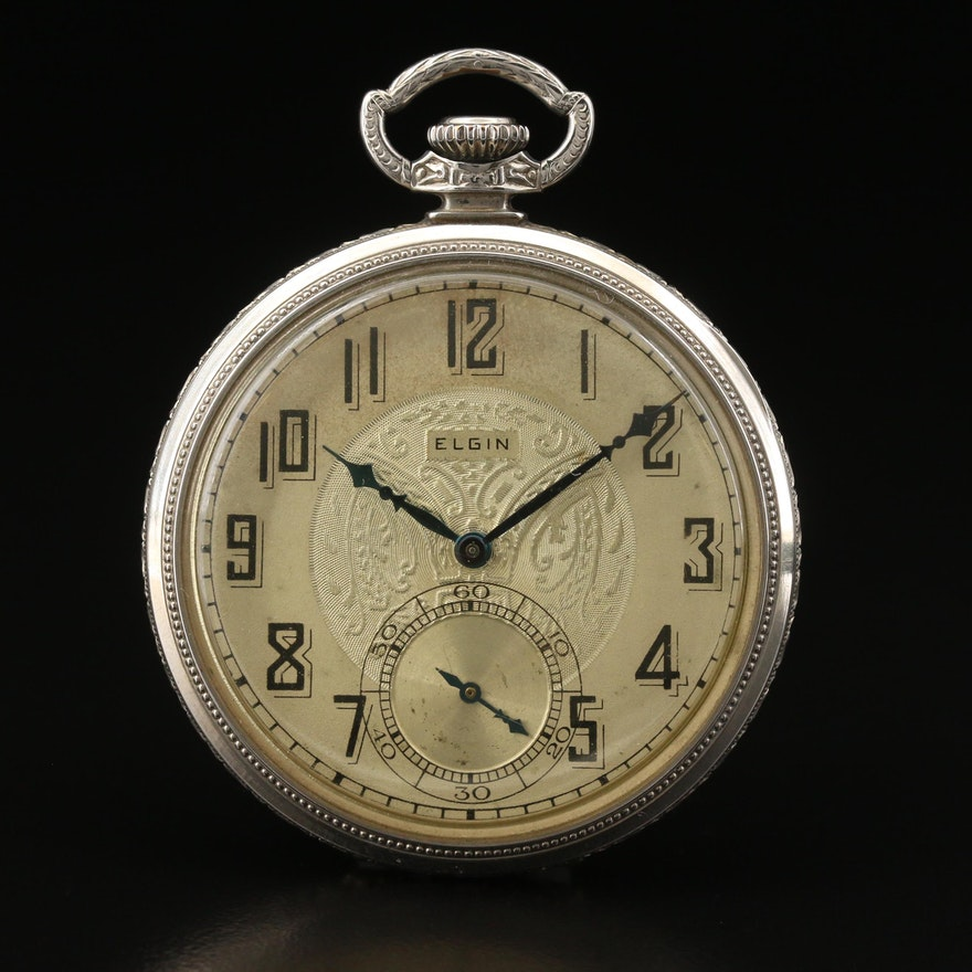 1927 Elgin Gold Filled Open Face Pocket Watch