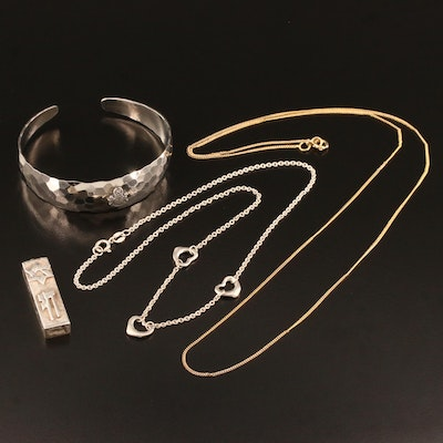 Sterling Jewelry Featuring Judaica Pendant and Fraternal Cuff