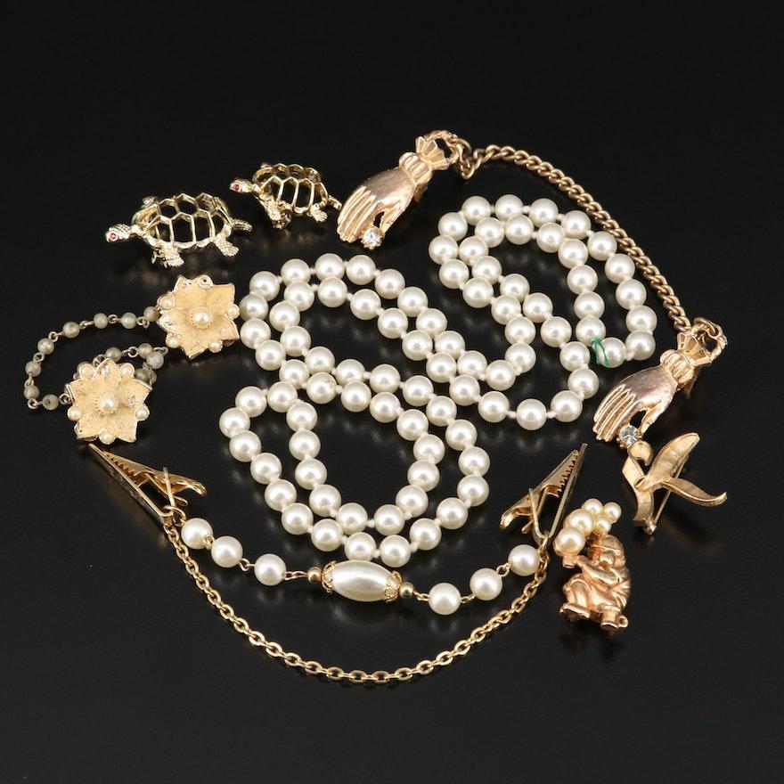 Rhinestone and Faux Pearl Jewelry Including Crown Trifari